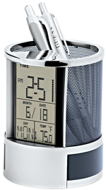 pen pencil holder stand with digital alarm clock