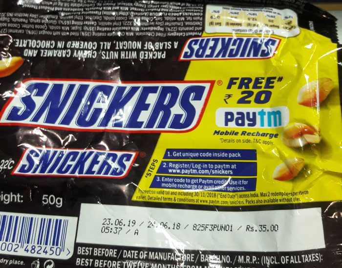 FREE Rs. 20 Paytm Snickers Pack