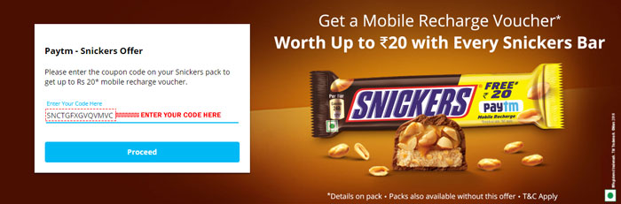 Snickers Paytm Offer Get FREE Rs. 20 Cashback in Paytm Wallet with Every Snickers Pack