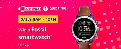 Amazon Quiz Answers for Fossil Smartwatch
