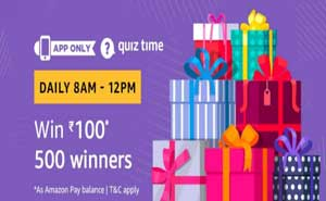 Amazon QuizTime Answers for Rs. 100 | 500 Winners