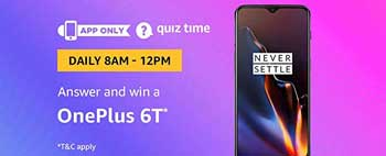 Amazon QuizTime Answers for OnePlus 6T