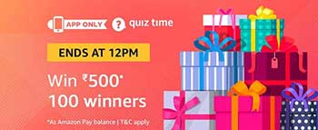Amazon QuizTime Answers for Rs. 500 (100 Winners)