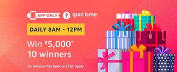Amazon QuizTime Answers for Rs. 5,000 today